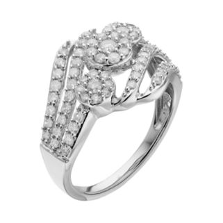 10k White Gold 1 Carat T.W. Diamond Cluster Bypass Ring