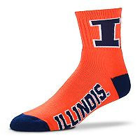 Adult For Bare Feet Illinois Fighting Illini Team Color Quarter-Crew Socks