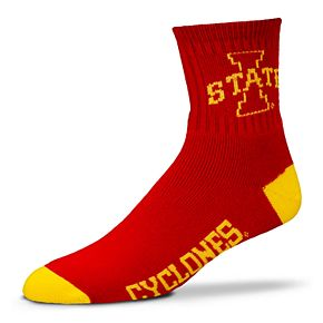 Adult For Bare Feet Iowa State Cyclones Team Color Quarter-Crew Socks