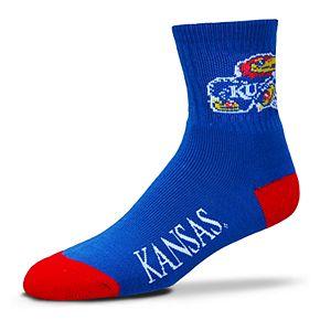Adult For Bare Feet Kansas Jayhawks Team Color Quarter-Crew Socks