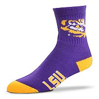 Adult For Bare Feet LSU Tigers Team Color Quarter-Crew Socks