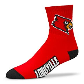 Adult For Bare Feet Louisville Cardinals Team Color Quarter-Crew Socks
