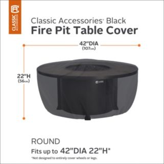 Black 42-in. Round Fire Pit Table Cover