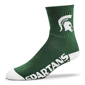 Adult For Bare Feet Michigan State Spartans Team Color Quarter-Crew Socks