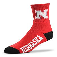 Adult For Bare Feet Nebraska Cornhuskers Team Color Quarter-Crew Socks