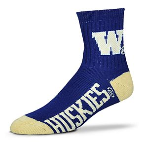 Adult For Bare Feet Washington Huskies Team Color Quarter-Crew Socks