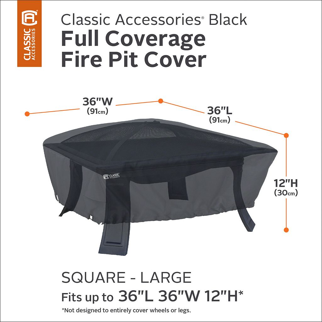 Black Large Square Fire Pit Cover