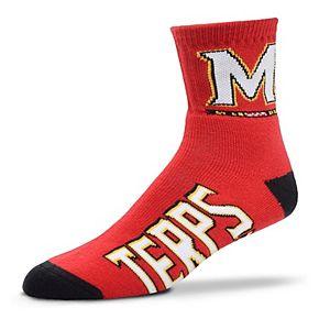 Adult For Bare Feet Maryland Terrapins Team Color Quarter-Crew Socks