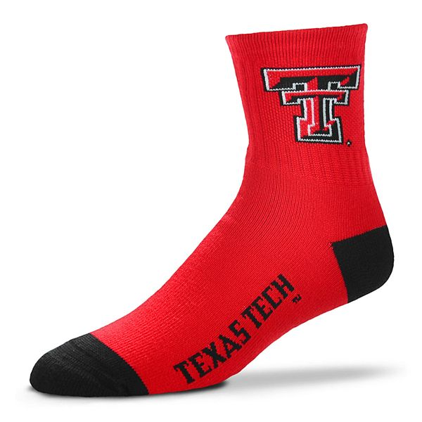 Adult For Bare Feet Texas Tech Red Raiders Team Color Quarter-Crew Socks