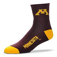 Adult For Bare Feet Minnesota Golden Gophers Team Color Quarter-Crew Socks