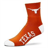 Adult For Bare Feet Texas Longhorns Team Color Quarter-Crew Socks
