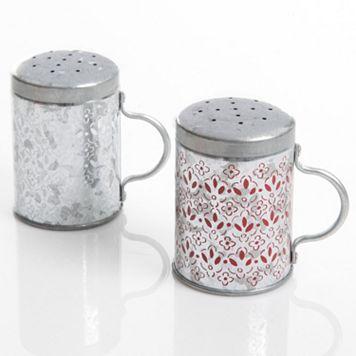 Gibson Home General Store Hollydale Galvanized Salt & Pepper Shaker Set