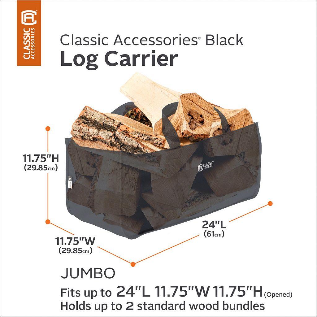 Black Jumbo Log Carrier Tote