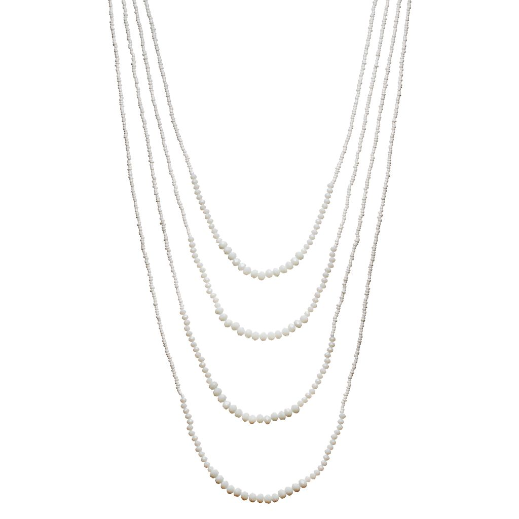 White Seed Bead Layered Necklace