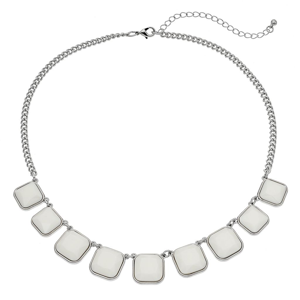 White Square Graduated Necklace