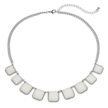 White Square Graduated Necklace