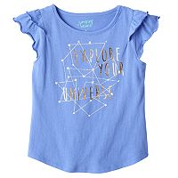 Girls 4-10 Jumping Beans® Tiered Flutter Sleeves Graphic Tee