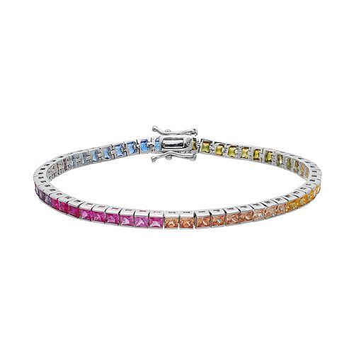 sterling silver cubic zirconia rainbow tennis bracelet. Black Bedroom Furniture Sets. Home Design Ideas