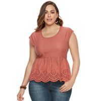 Plus Size SONOMA Goods for Life™ Eyelet Peplum Top