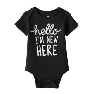 "Baby Babies With Attitude Metallic ""Hello I'm New Here"" Graphic Bodysuit"