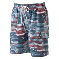 Big & Tall Croft & Barrow® Americana Microfiber Swim Trunks