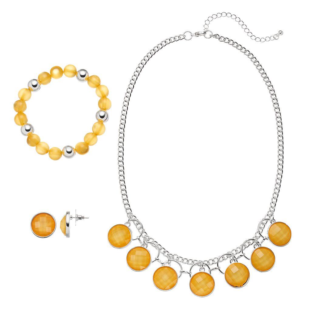 Yellow Stone Necklace, Beaded Stretch Bracelet & Drop Earring Set