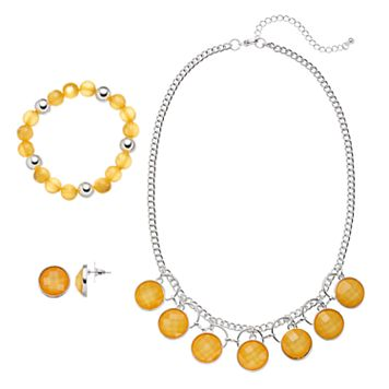 Yellow Stone Necklace, Beaded Stretch Bracelet & Drop Earring Set