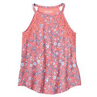 Girls 7-16 & Plus Size Mudd® Crochet Floral Highneck Tank Top
