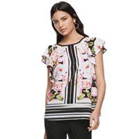 Women's ELLE™ Floral Striped Flutter Top