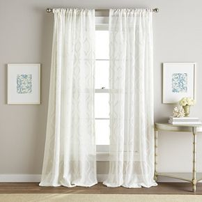 Hourglass 1-Panel Embroidered Sheer Window Curtain