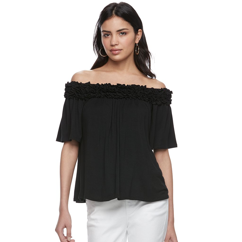 Women's ELLE™ Off-the-Shoulder Ruffle Top