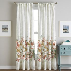 Watercolor 1-Panel Floral Window Curtain