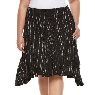 Plus Size Apt. 9® Shark Bit A-Line Midi Skirt