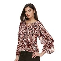 Women's Jennifer Lopez Lace-Up Ruffle Top
