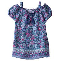 Girls 7-16 & Plus Size Mudd® Tassel Patterned Off Shoulder Top