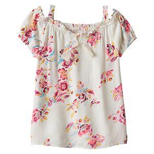 Girls 7-16 & Plus Size Mudd® Tassel Patterned Off Shoulder Top