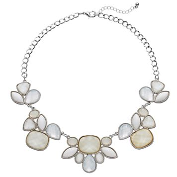 White Geometric Stone Statement Necklace