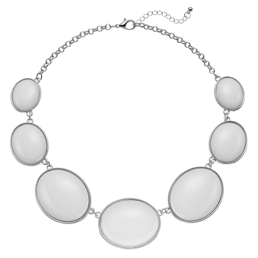 Graduated White Oval Cabochon Necklace