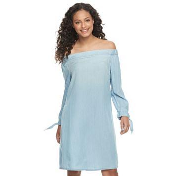 Juniors' SO® Chambray Off Shoulder Shift Dress