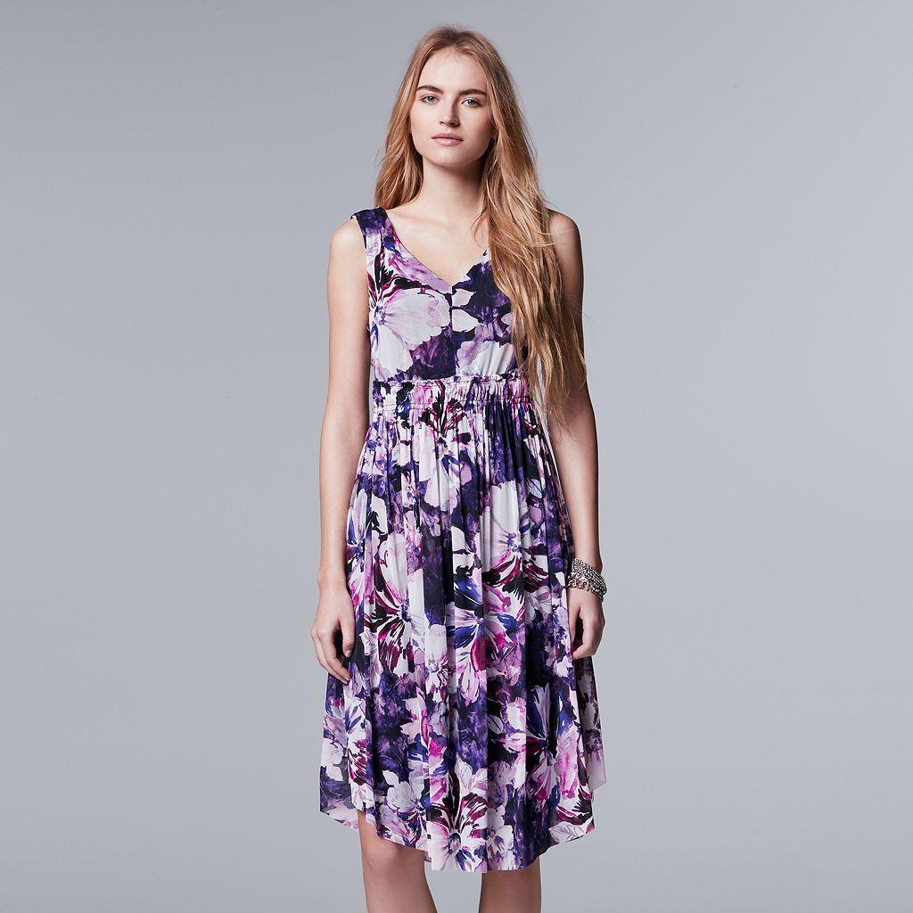 Petite Simply Vera Vera Wang V-Neck Mesh Fit & Flare Dress