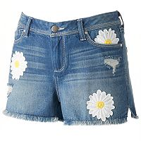 Women's LC Lauren Conrad Embroidered Daisy Jean Shorts