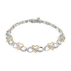 Two Tone Sterling Silver 1/4 Carat T.W. Diamond Heart Infinity Bracelet