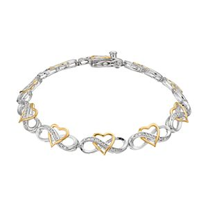 Gold Tone 1//4 Ct Diamond Intertwining Infinity Bracelet