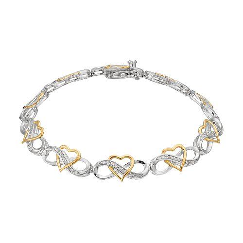 Two Tone Sterling Silver 1/4 Carat T.W. Diamond Heart Infinity Bracelet