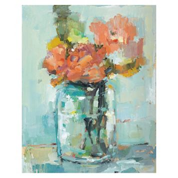 Belle Maison Mason Jar With Flowers Canvas Wall Art