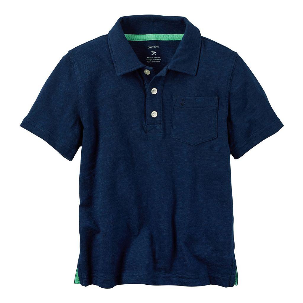 Boys 4-8 Carter's Slubbed Solid Polo