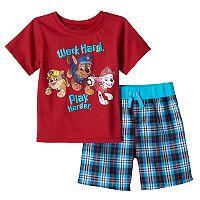 Baby Boy Paw Patrol Rubble, Chase & Marshall Graphic Tee & Plaid Shorts Set
