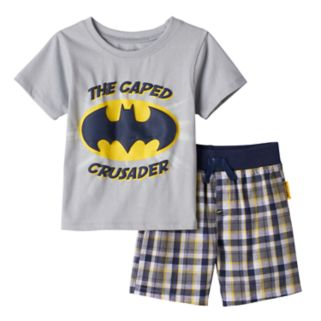 "Baby Boy DC Comics Batman ""The Caped Crusader"" Tee & Plaid Shorts Set"