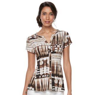 Petite Dana Buchman Printed Peplum Shirt