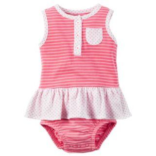 Baby Girl Carter's Striped Henley Sunsuit